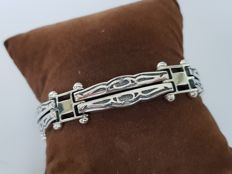 925 Solid Silver link bracelet with pattern, 20 cm