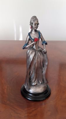 Lady with fan from the eighteenth century - terracotta, nickel silver alloy coated and coloured enamel - 20th century