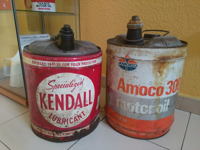 Rare lot of 2 drums, USA KENDALL - AMOCO Empty. 20th century