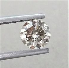 1.21 carat , Natural Fancy Champagne , SI1 clarity , AIG certified + Laser Inscription on Girdle