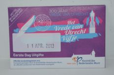 "The Netherlands - 5 Euro coin 2013, ""Peace of Utrecht"" in coin card (first day issue without initials)"