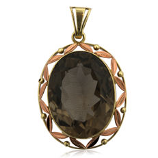 Very Large Smoke Quartz Pendant in 14kt yellow and pink gold, as new.