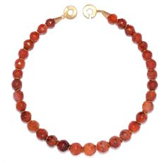 A lovely Roman Carnelian Faceted Bead Necklace - String length: 43 cm (17 inches)