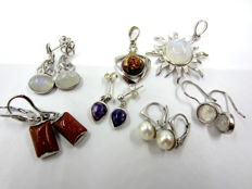Lot of vintage earrings and pendants with gemstones