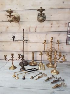 Large candlesticks and candles extinguishers collection