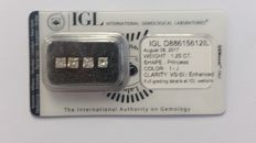 1.25ct 4  Diamonds   Princess I-J  VS-SI  IGL-No Reserve