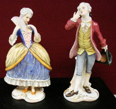 Goebel porcelain figurines, woman and man on the dance floor FR25/FR26
