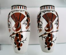 Keller et Guérin, Lunéville - A pair of earthenware vases with a stylized decoration of birds.