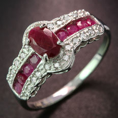 14kt White Gold Ring with  24 diamonds 0.12ct total and Ruby- 7 (US)