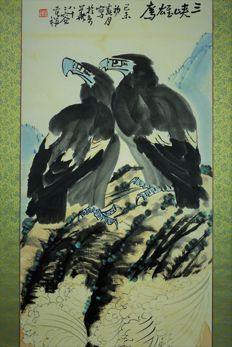Hand painted color painting, made after Li ku chan 《 李苦禅-鹰-镜芯 》- China -Late 20th century