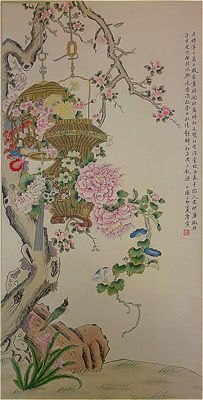 A Hand-painted water-ink painting (reproduction Tang Yin)《唐寅·花鸟》- China - late 20th century