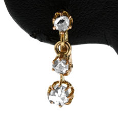 0.30ct Old Rose-cut Diamond Pending Pink Gold Earrings in Mint Condition.