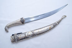 Dagger - Kinjal - Ceremonial - Silver Plated - Black Enamel Niello - Eagle Head - Russia/Georgia - ca. 1940's