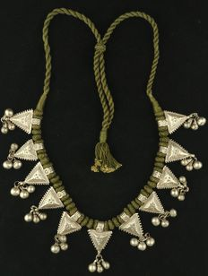 Antique silver necklace with box-like decorations - Afghanistan, early 20th Century