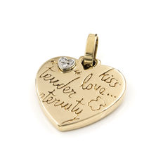 Yellow gold, 18 kt/750 - Pendant - Brilliant cut diamonds - Pendant height (including bail): 25.00 mm (approx.)