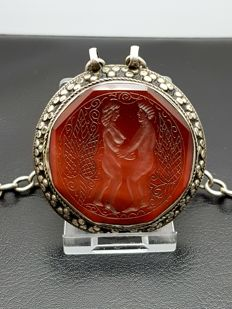 Large Silver/agate Wedding Amulet pendant - Russia approx. 1880