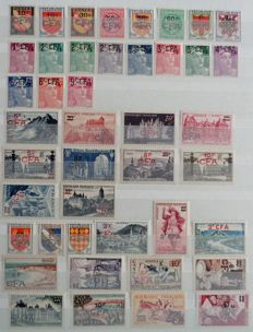 French ex-colonies 1949/1974 – CFA series, complete collection of stamps of the current use.