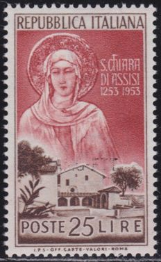 Trieste A 1953 – S. Chiara, 25 Lire, evanescent overprint – 42 exemplars are known – Sassone catalogue # 177 a