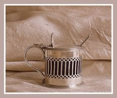 Sterling silver pierced Edwardian mustard pot w/blue glass liner, Haseler Brothers, Chester, 1904 and spoon, James & William Deakin, Sheffield, 1905