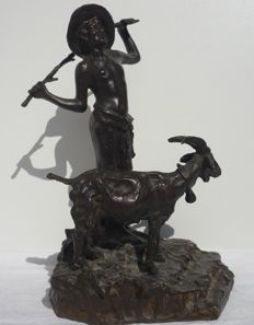"""Pastorello con capretta"" - bronze, late 1800s - signed ""Gianni"""