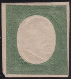 Sardinia 1854 - 5 cents dark olive green, not issued, variation with double embossed effigy - Sass.  No. 10c