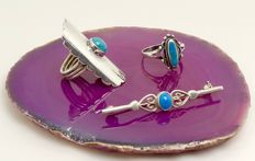 Triple set of 2 vintage Turquoise Native american rings & western brooch 1st grade silver  - NO reserve