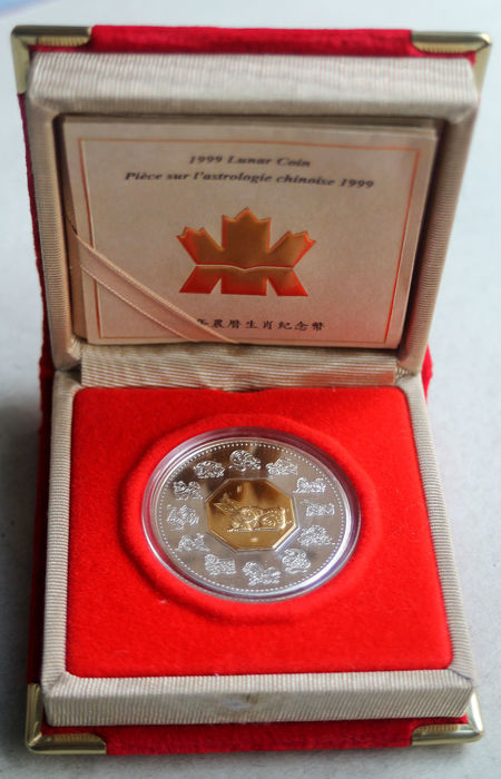 Canada - 15 dollars 1999 'Year of the Hare' - 24 kt gilded inlay - silver
