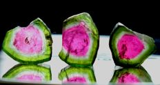 Lot of Perfect Watermelon Tourmaline Slices - 16.95cts (3)
