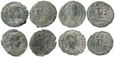 Roman Empire - Four roman bronze coins lot. Constans (3) and Constantius II AE16-19 from Arles mint.