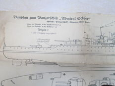 original construction drawing for model of Admiral Scheer  panzerschiff