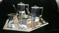 Complete Art Déco coffee service, solid  .925 silver with hallmark and warranty