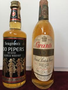 2 bottles - Seagrams 100 Pipers 1970s & Grant's Stand Fast 1970s - 2x 75 cl