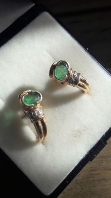 14K earrings set whit natural emeralds and diamonds, no reserve price