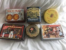 6 old boxes: Delacre Massilly, Les Mascottes and one Arabic, Chinese
