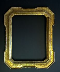 Antique Umbertine tray frame with burin engravings and original Mecca gilding - Italy, 1850