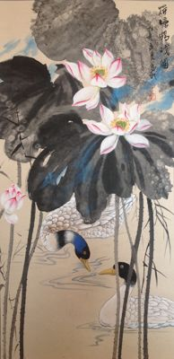 Very beautiful hand painted scroll of lotus and ducks (荷塘鸭戏图) - China - late 20th century