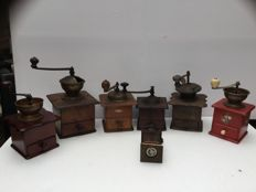 "Collection of six ""Lap coffee grinders"" including PeDe, Peugeot"