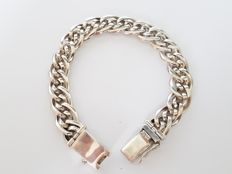 925 solid silver braided bracelet – length 18.5 cm – 35.50 g