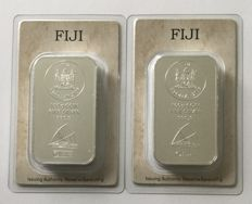 Fiji: 2 x 100 g silver bars Heraeus 2015, coin bars motif sailboat, new and sealed