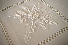 Lavish tablecloth for 12, pure linen gauze with embossed handmade flower embroidery