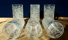 Lot of 6 chiselled and cut crystal glasses - Saint Louis - France - ca. 1880