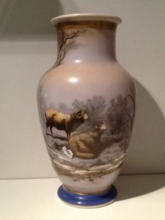 Very large opaline vase with landscaping decor with sheep, possibly Baccarat, France, dated August 1878