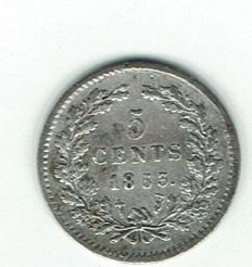 The Netherlands – 5 cents 1853 Willem III – silver