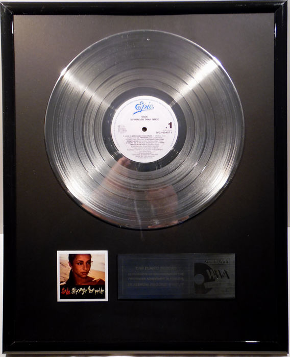 "Sade - Stronger than Pride - 12"" Epic Record platinum plated record by WWA Awards"