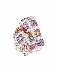 18K White Gold Ring with Diamonds, Amethysts and Pink Sapphires