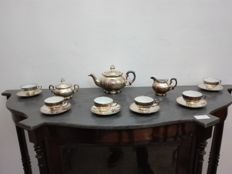 Heinrich, tea set in silver-plated porcelain