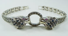 Tiger bracelet with natural Sapphires & Rubies  - 925 Sterling silver