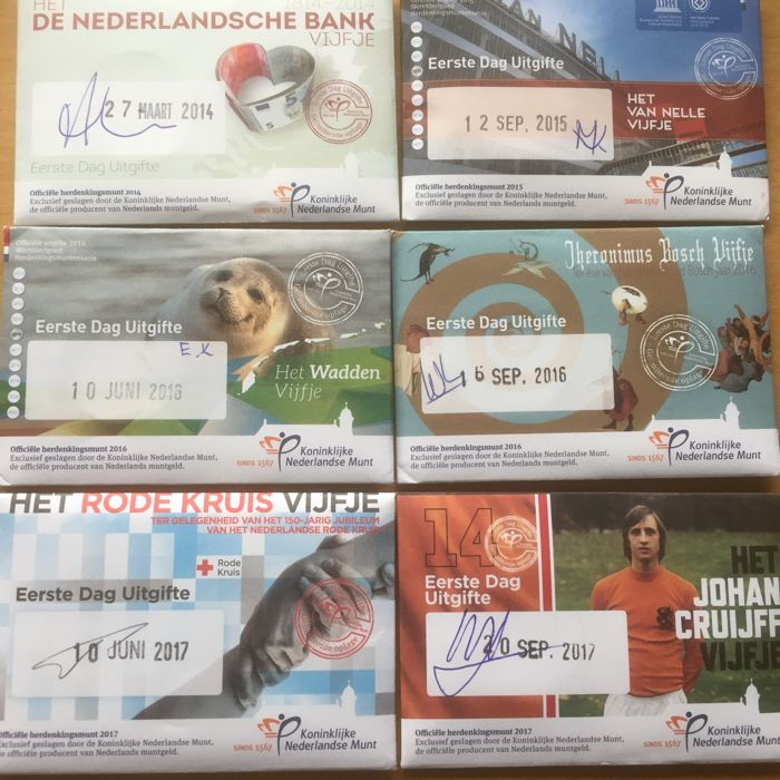 Netherlands - Coin cards - 1st Day of Emission (6 different ones) 2014-2017