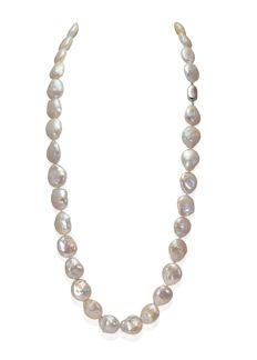 Long Baroque Freshwater Pearl Necklace Completed with a Silver Clasp - Authenticity Certificate, L 88cm