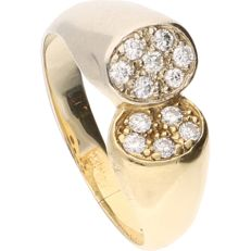 18 kt bi-colour-gold ring, set with 12 brilliant-cut diamonds of approx. 0.24 ct in total - ring size: 18.25 mm